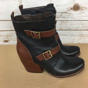 Kork-Ease Brown Black Side Zip Boots
